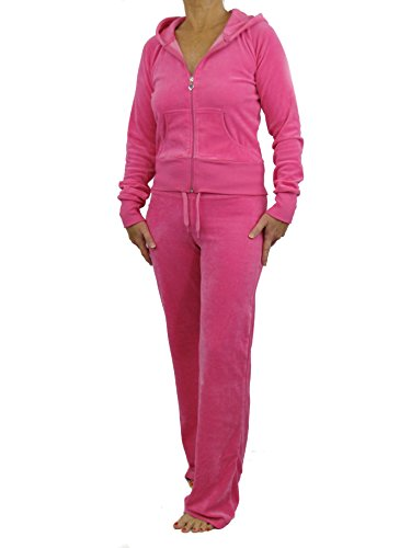 Love Lola Damen Velours-Trainingsanzug, Luxus-Lounge-Anzug, mit Kapuze, Designer-Inspiriert. Gr. 38, hot pink