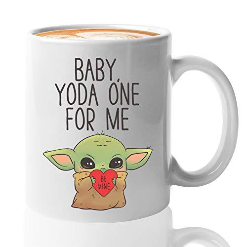 Relationship Coffee Mug - Baby Yoda One For Me - Valentine's Lover Partner Romantic Men Women Boyfriend Girlfriend Funny Galentine's Cute (11oz, White)