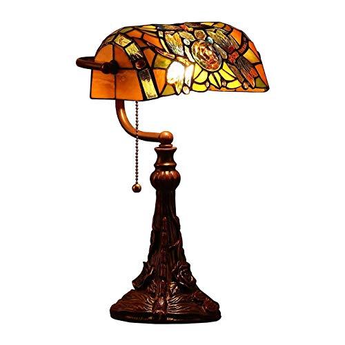 ZHI BEI Lámpara de Escritorio XXMK - Lámpara de Mesa de banquero de Cristal de Estilo Tiffany con 10-'Pantalla Ancha, 17-' Alto Lámpara de Mesa Elegante y Brillante.