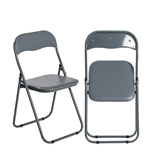 Harbour Housewares Padded Folding Chair - Metal Frame - Space Saving Storage - Grey