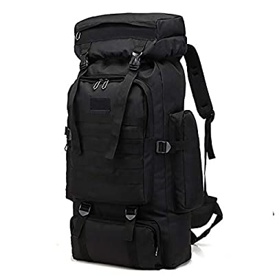 WintMing 70L Large Camping Hiking Backpack Tactical Military Molle Rucksack for Trekking Traveling Oxford Waterproof Mountaineering Pack Large Daypack for Men (Black)