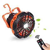 Portable Camping-Fan Tents LED-Light Power-Bank - X10 5200mAh Rechargeable USB With Remote, 180°Head Rotation Hanging Hook,Small Fans For Outdoor Camping,Home,Office