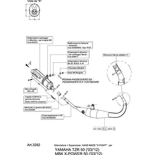 LeoVince X-Fight TZR 50 AM6 03-06 - Tubo de escape (fabricado a mano)