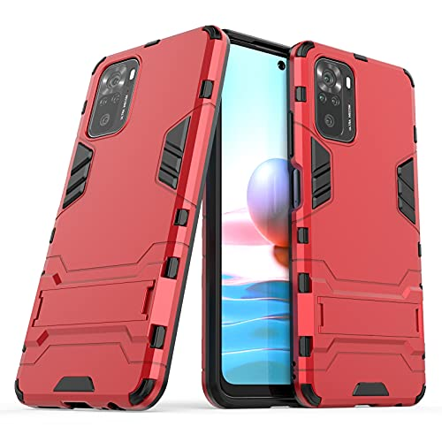 Max Power Digital Funda para móvil Xiaomi Redmi Note 10 4G / Redmi Note 10s con Soporte Carcasa Híbrida Antigolpes Resistente Rígida Dura Armadura Case Cover (Xiaomi Redmi Note 10 4G, Rojo)