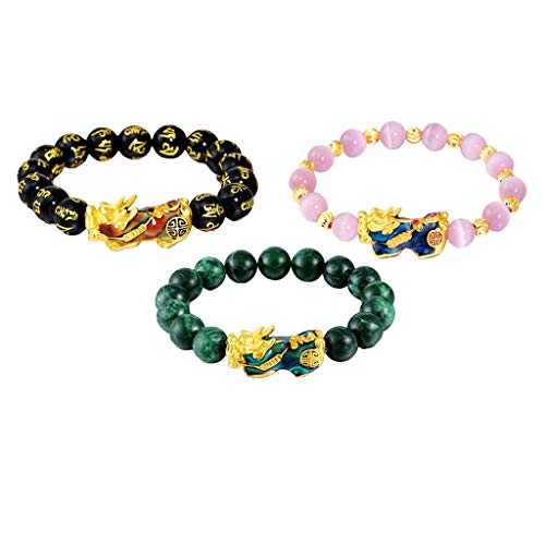 Milageto 3 Piezas Feng Shui Mantra Amuleto Obsidiana Tallada Pixiu Charms Aleación Pulsera Joyería