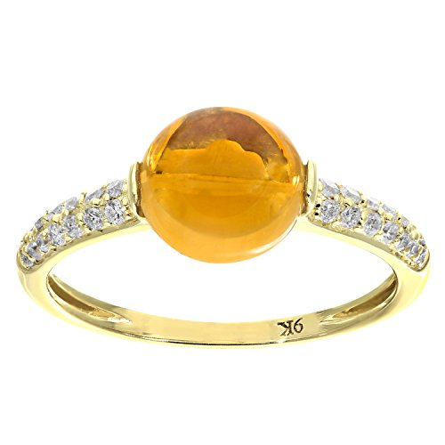 Naava Damen-Ring 9 K 375 Gelbgold Citrin und Diamant 2, 30 ct Gr. P