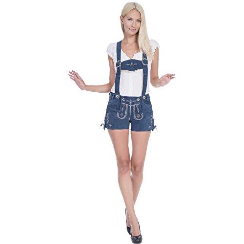 Gaudi-Leathers Trachten Lederhose Shorts, Rauchblau in Größe 42