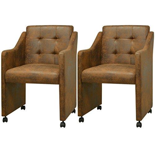 Festnight Esszimmerstühle 2 Stk. Essstühle mit Armlehnen Esszimmersessel Küchenstuhl Kunstlederbezug 59x57,5x86,5cm Braun