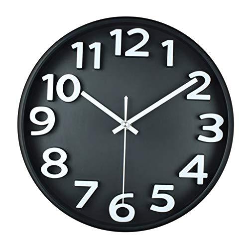 Everyday home Horloge murale ronde muet Non-coutil intérieur chambre salon bureau plastique boîtier à piles Horloge à quartz, 12 pouces avec cadran en verre (Couleur : NOIR, taille : 12 pouces)