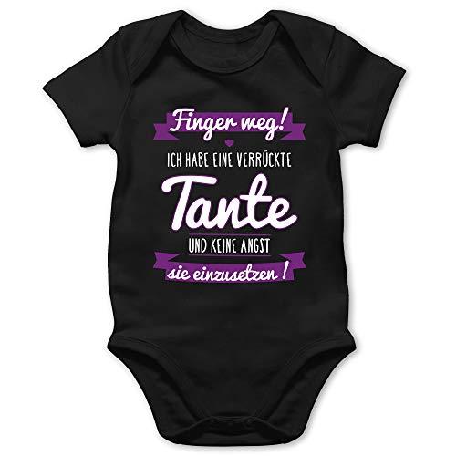 Shirtracer Sprüche Baby - Ich Habe eine verrückte Tante Lila - 6/12 Monate - Schwarz - lustige babysachen - BZ10 - Baby Body Kurzarm für Jungen und Mädchen