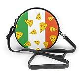 BAODANLA Bolso redondo mujer Women's Round Vegan Leather Crossbody Messenger Shoulder Handbag Italian Pizza Flag Circle Tote Shopping Bag For Women Sling Bag