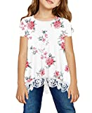 storeofbaby Little Girls Floral Blouse T-Shirts Summer Short Sleeve Lace Trim Tops