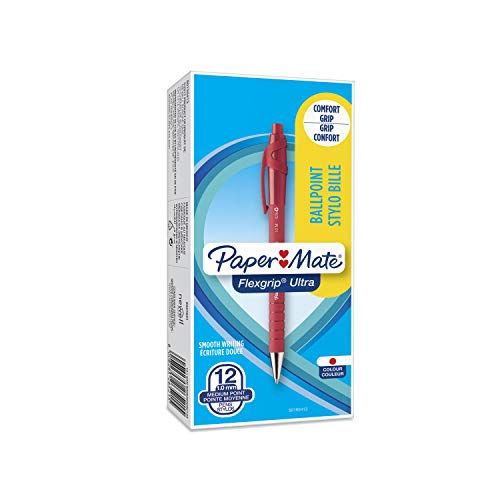 Papermate Flexgrip Ultra Penna a Sfera a Scatto, Punta Media (1.0 mm), Confezione da 12, Rosso