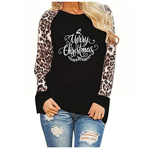 Merry Christmas Tshirt Women Leopard Color Block Long Sleeve Raglan Baseball T-Shirt Casual Graphic Tee Tops