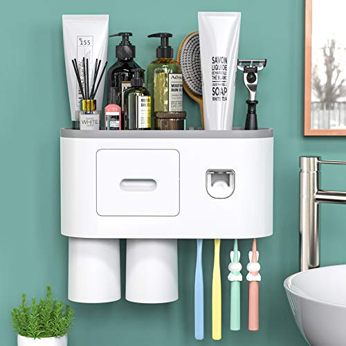Toothbrush Holder Wall Mounted, Automatic Toothpaste Dispenser Squeezer Kit -Magnetic Toothbrush Holder for Bathroom and Vanity, 4 Brush Slots 2 Cups 1 Cosmetic Drawer1 Large Storage Tray by showgoca