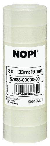 Nopi Klebefilm, transparent, 8 Rollen, 33m x 19mm