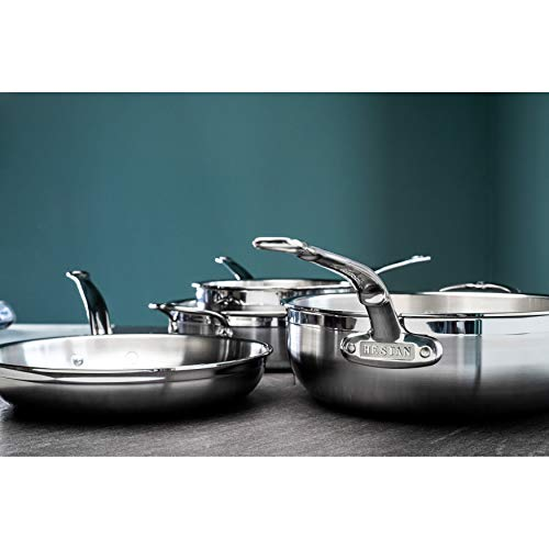 Hestan ProBond Collection Ultimate Set - 100% Triple Bonded Nonstick Stainless Steel, Lids are Interchangeable, Assortment of Pots, Pans & Skillets, 10-Piece Set, Stainless Steel