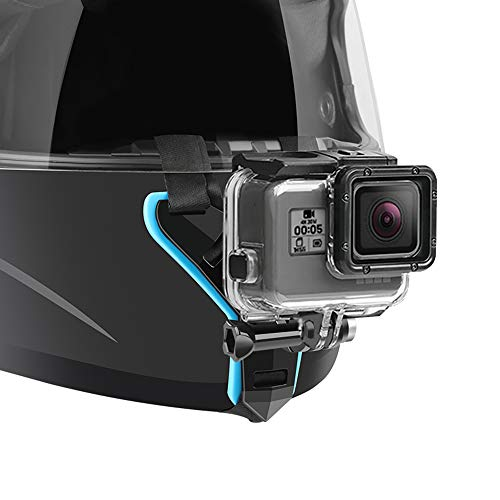 Motorcycle Helmet Chin Strap Mount Compatible with GoPro Hero 7, (2018), 6 5 4 3, Hero Black, Session, Xiaomi Yi, SJCAM (Blue)