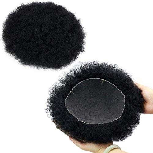 Rossy&Nancy Natural Afro Tight Curly Men's Toupee #1 Jet Black All Lace Replacement Hairpiece 130% Medium Density 9x7inch