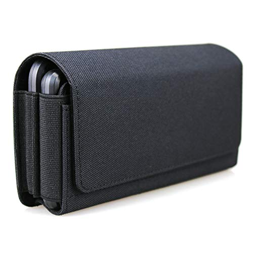 aubaddy Dual Phone Holster Pouch Case for 2 Phones, Nylon Double Decker Belt Clip Case for iPhone 12 Pro Max 11 Pro Max 8 Plus Samusng Note 20 Ultra 5G Note 10+ Galaxy S20+ S10+ S20 FE A71 A51 (Black)