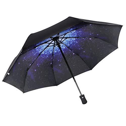 BFGTOR Paraguas Plegable a Prueba de Viento,210T de Apertura/Cierre automático, Paraguas de Viaje Compacto y portátil para Lluvia, Nieve y Sol (Cielo Azul Estrellado)