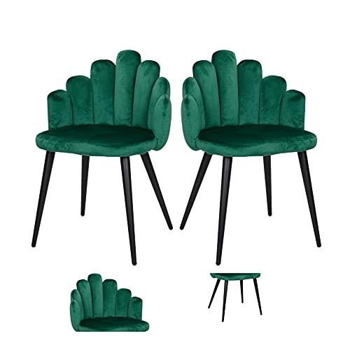 Loungesessel Indoor Loungesessel für Außen Loungesessel 2er Set Sessel Relaxsessel Fingersessel Sofastuhl Samt Metall Fußstuhl geeignet für Schlafzimmer Wohnzimmer Küche (Grün, 2)