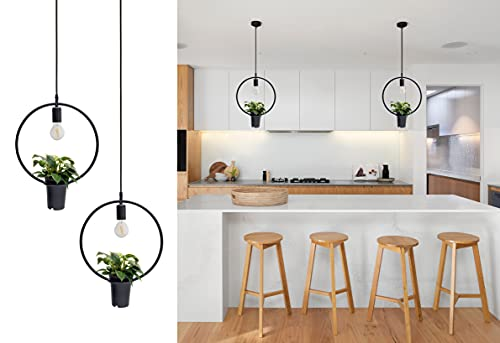 """2 Pendant Light Fixture for Kitchen Island Dining Room Hanging Lamp with Plant Pot and Adjustable Wire up to 59"""" Ideal for Dining or Kitchen Table Scandinavian Style by Scandinaf."""