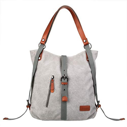 Rucksack Women Fashion Backpack Anti-Theft Canvas Backpack, JOSEKO Ladies Travel Bag School Bag Vintage Bag Large Capacity Casual Daypack for Vacation Travel Hiking Daily Work Grey#02