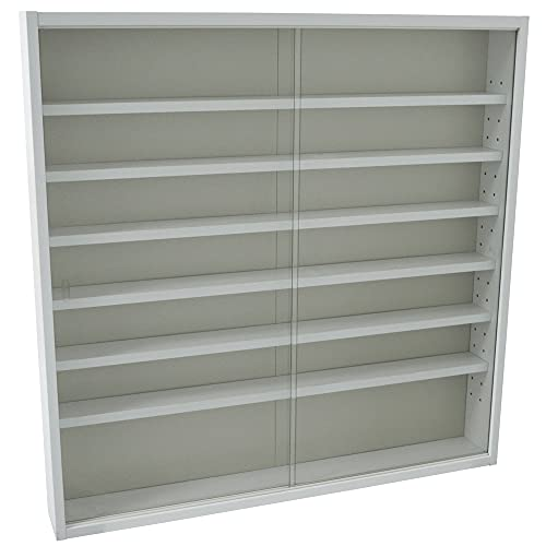 WATSONS REVEAL - 6 Shelf Glass Wall Collectors Display Cabinet - White