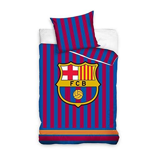 DHestia F.C. Barcelona Juego de Cama con Funda Nórdica y Funda de Almohada Cama 90 Licencia Oficial. FCB185023 (Cama 90)
