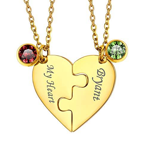 U7 Collares Personalizables de la Amistad Nombres y Cristales Personalizados Collar Corazón Puzzle 2 Piezas para Parejas Cadenas Doradas Acero Inoxidable 316L Joyería DIY para San Valentín