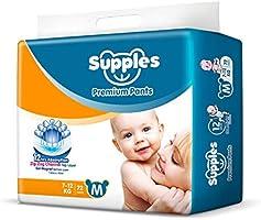 Supples Baby Pants Diapers, Medium (7-12 kg), 72 Count