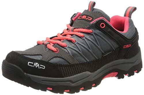 CMP Kids Rigel Low Trekking Shoe Wp, Scarpe da Arrampicata Basse Unisex-Bambini, Grigio (Grey-red Fluo), 38 EU