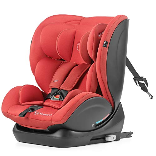 Kinderkraft Car Seat MYWAY, Booster Child Seat, with Isofix, Rearward and Forward Facing, Ajustable Backrest and Headrest, Reclining, for Toddlers, Infant, Group 0+/1/2/3, 0-36 Kg, Up to 12 Years, Red