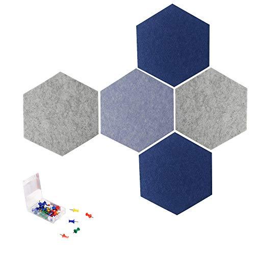 Athyior Hexagon Cork Board 5/8 stks - Zelfklevende Kleurrijke Bulletin Vilt Pin Board met Push Pins Memo Tegels Muurstickers voor Home Office Decor Notice Display Board 5pcs / 30*26*0.6cm Kleurrijk