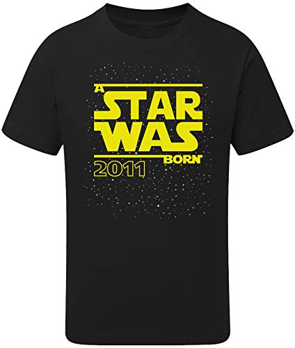 Geburtstags Shirt: Star was Born 9 Jahre - T-Shirt für Jungen und Mädchen - Geschenk-Idee zm 9. Geburtstag - Junge - Jahrgang 2011 - neun-TER - Lustig Cool Witzig - Kind-er - Trikot Pyjama (122/128)