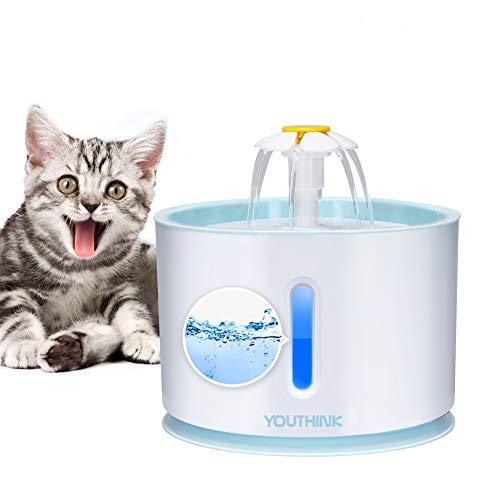 YOUTHINK Bomba de Agua Silenciosa Que Ahorra Energía para Fuente para Mascotas de 2.4 L con luz LED Sumergible con Cable de Alimentación de 6 pies, Fuente de Repuesto para Bomba para Mascotas