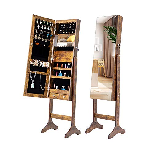 MIYACA 6 LEDs Jewelry Mirror Armoire Organizer Standing Lockable Jewelry Cabinet with Full-Length Body Dressing Mirror and Larger Capacity 3 Adjustable Angles Antique