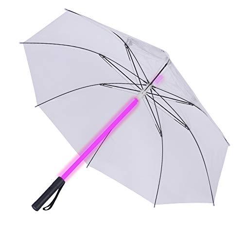 Stoff-LED-Lichtschwert, Regenschirm, Taschenlampe in den Griff für Golfschirme mit 7 Farben, Schwert zum Wechseln am Schaft, integrierte Taschenlampe unten