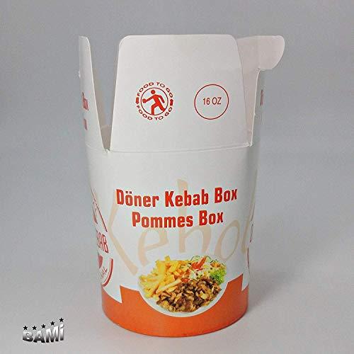 BAMI 500 Stück Dönerbox Pommesbox Fastfoodbox Asiabox mit -Döner Kebab- Motiv 16oz, 450ccm