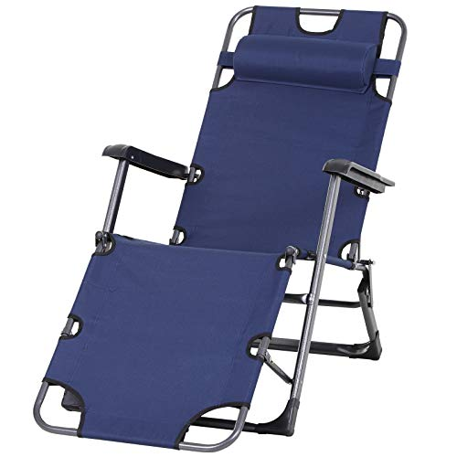 Outsunny Metal Frame Outdoor Pool Sun Lounger Curved Reclining Chair 120°/180° w/Head Pillow, Navy
