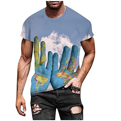 Nuevo 2021 Camiseta Hombre Verano Manga corta 3D animal Impresión Moda Casual T-shirt Blusas camisas Camiseta originales Cuello redondo hombre suave básica Tops camiseta deportiva