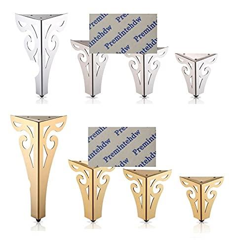 2 unids/lote muebles de acero inoxidable patas de sofá europeo hueco patrón de flores pies de gabinete accesorios de hardware oro pulido-oro H15CM