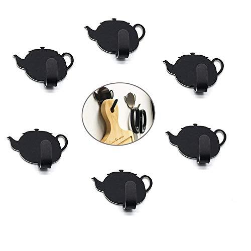 Lindo Ganchos Adhesivos, Morbuy 6 Piezas Tetera Inoxidable Toallero Perchero Pared Cocina Baño 3M Autoadhesivo Perchero de Acero para Puerta Toalla Llaves Organizador (Negro)