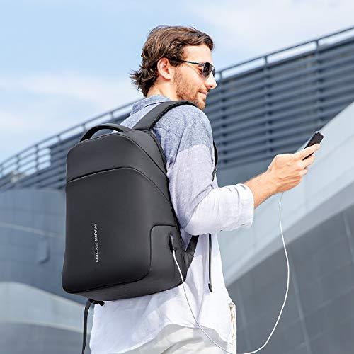 Muzee Mark Ryden Anti-Diebstahl Laptop Rucksack, 15,6 Zoll Business-Tasche Schul-Tagesrucksack mit USB Ladeanschluss für Herren Dame, Arbeiten, Reisen, Wandern, Motorrad