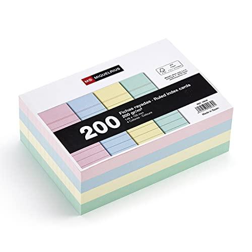 Miquelrius - Flashcards Tarjetas para Estudio, Fichas para Notas, Rayas Horizontales, Tamaño A6, 105 x 148 mm, Colores Pastel