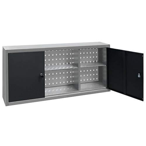 Armario de herramientas montado en la pared, estilo industrial, de metal, para herramientas, armarios, puertas con cerradura y 2 estantes para taller de garaje, 120 x 19 x 60 cm, color gris y negro
