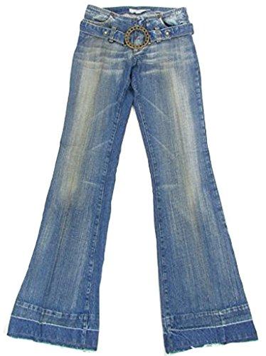 Fornarina - Jeans da donna in stile anni '70 hippie e retro, con cintura, effetto denim usato, colore blu Blu 26W