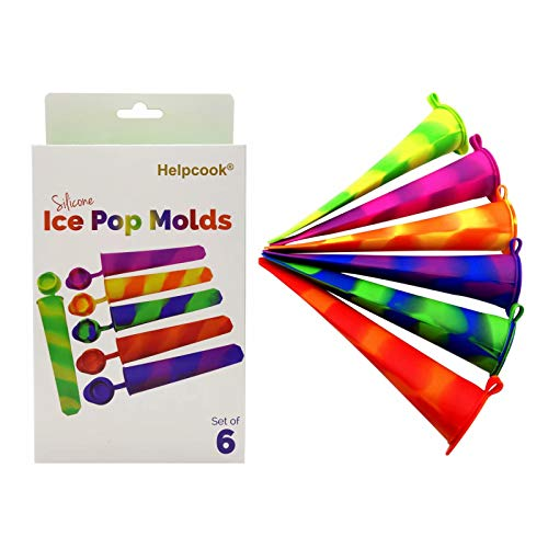Helpcook Silicone Ice Pop Molds,Multicolored Popsicle Molds with Attached Lids,Set of 6