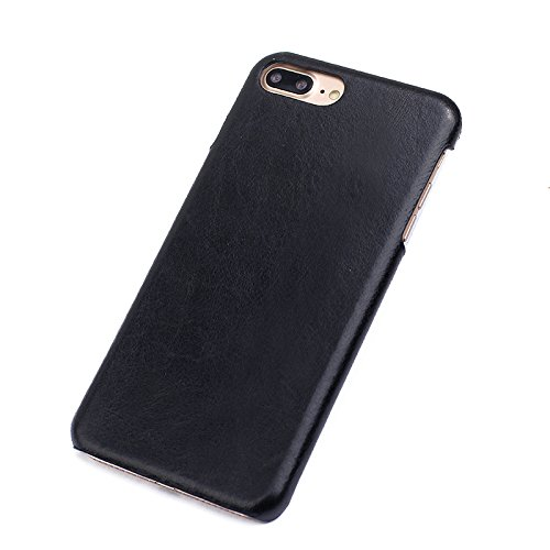 Yhuisen Retro Cuoio Genuino di Stile Ultra Sottile di Lusso Posteriore di Caso della Calotta di Protezione di Caso per iPhone 7 Plus/iPhone 8 Plus (5.5 Pollici) (Color : Black)